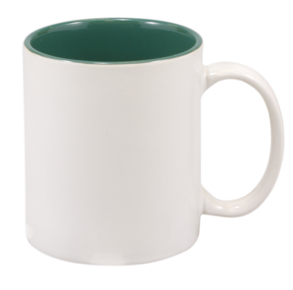 11 OZ WHITE/GREEN CERAMIC MUG