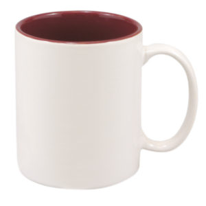 11 OZ WHITE/MAROON CERAMIC MUG