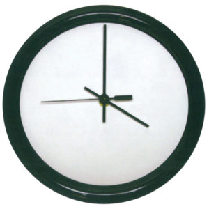 ROUND GLOSS WHITE HARDBOARD CLOCK WITH BLACK FRAME