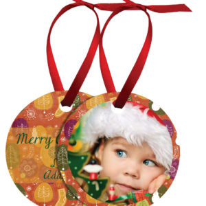 ROUND 2 SIDED METAL ORNAMENT WITH RED RIBBON