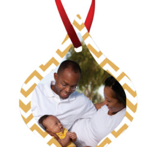 TAPERED 2 SIDED METAL ORNAMENT WITH RED RIBBON