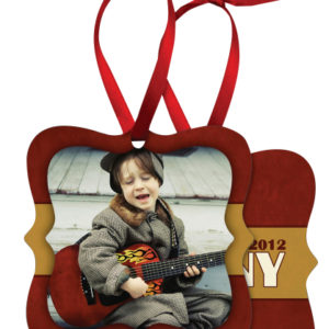 PRAGUE 2 SIDED METAL ORNAMENT WITH RED RIBBON