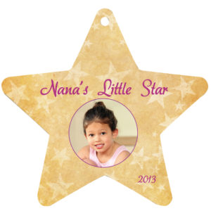 STAR 2 SIDED METAL ORNAMENT WITH RIBBON