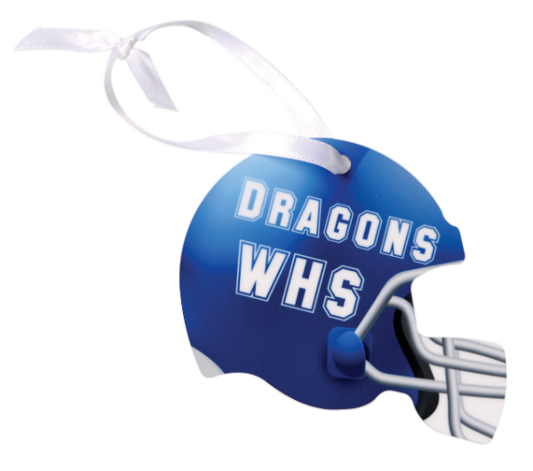 HELMET 2 SIDED METAL ORNAMENT WITH RIBBON