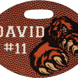 GLOSSY DOUBLE SIDED PLASTIC FOOTBALL BAG TAG