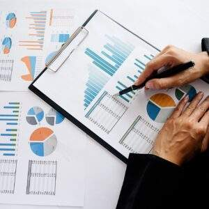 Administrator business man financial inspector and secretary making report calculating balance