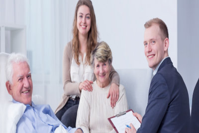senior man with family having therapy