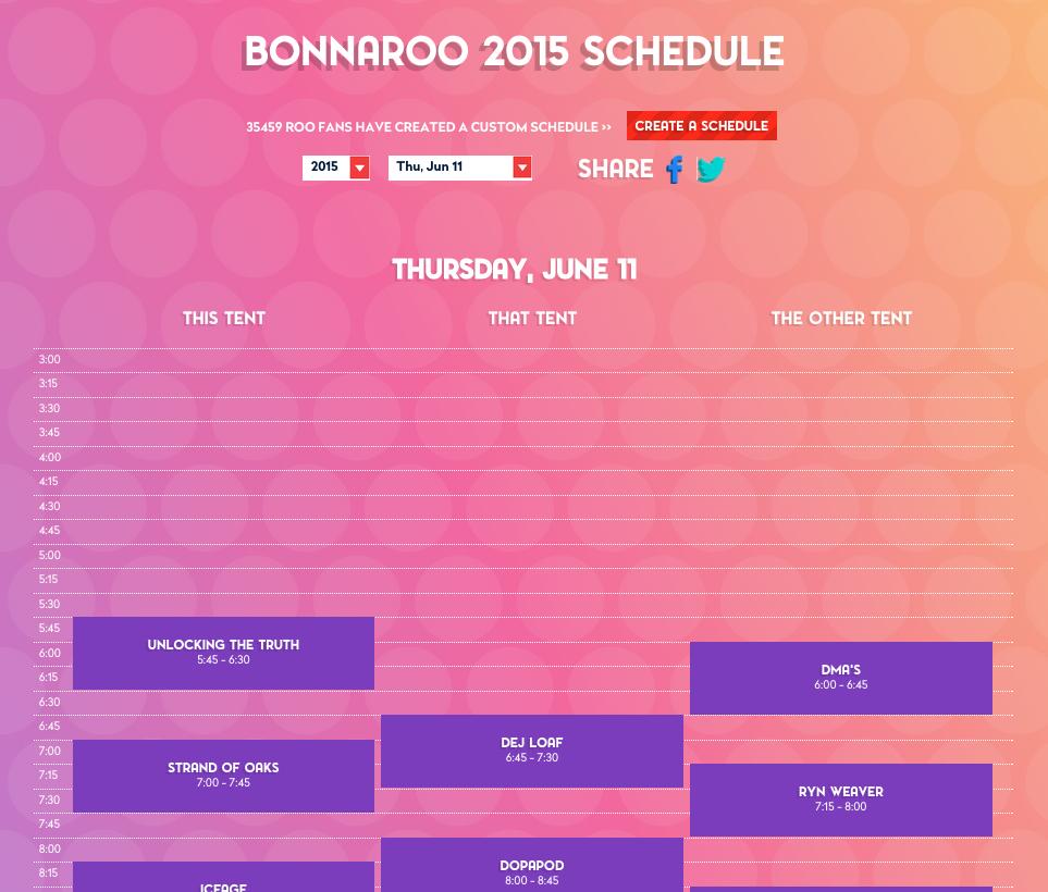 Bonnaroo 2015 Thursday Schedule. Photo by: bonnaroo.com