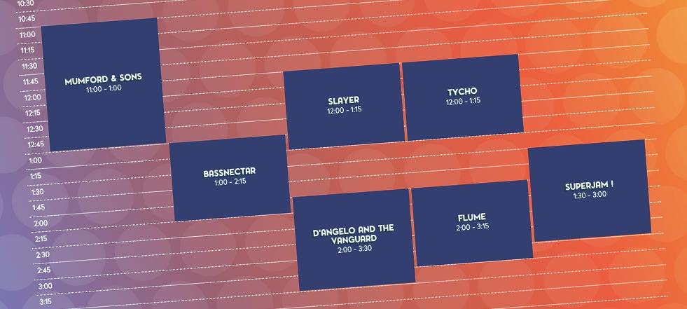 Bonnaroo 2015 Schedule. Photo by: bonnaroo.com