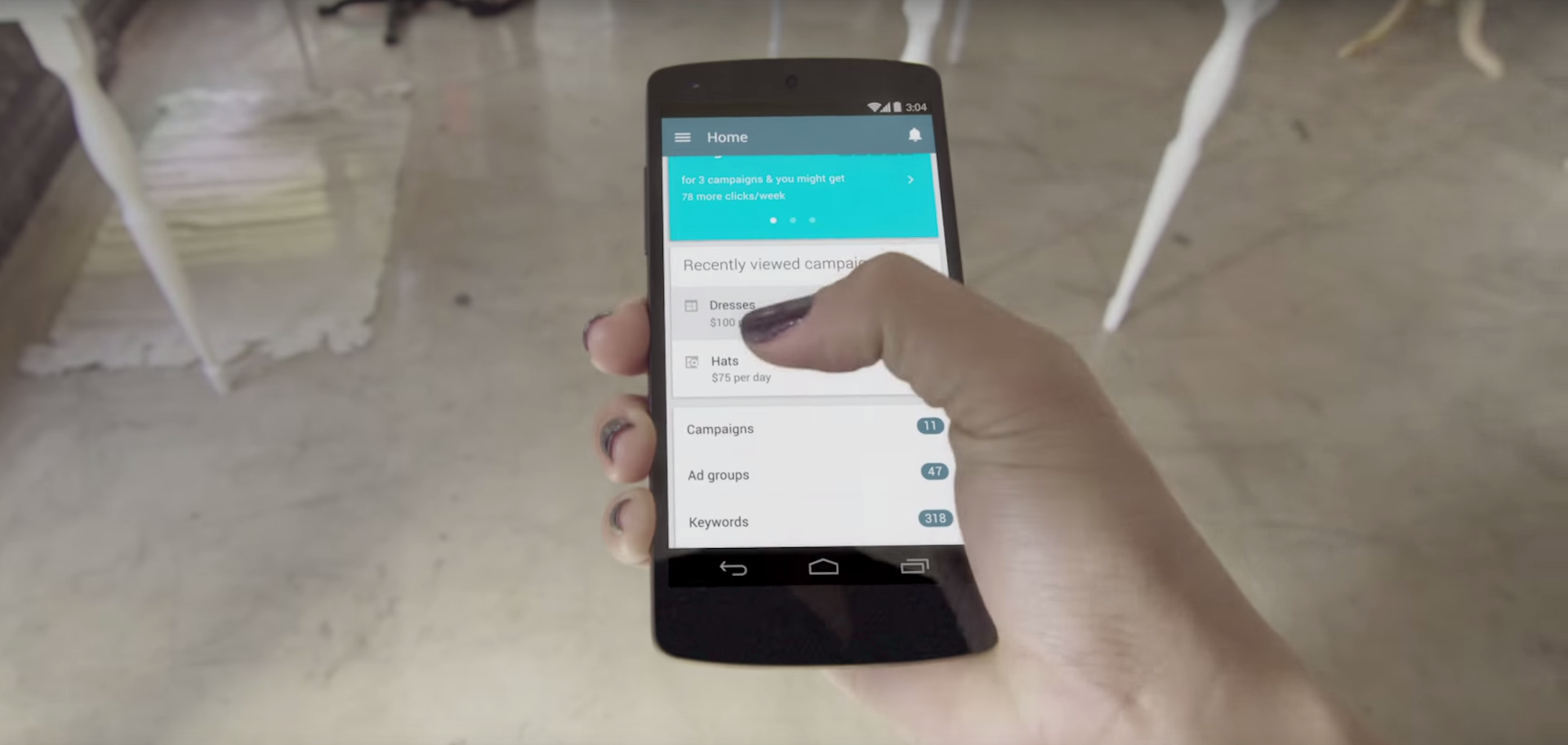 Google AdWords application. Image by: AdWords / YouTube