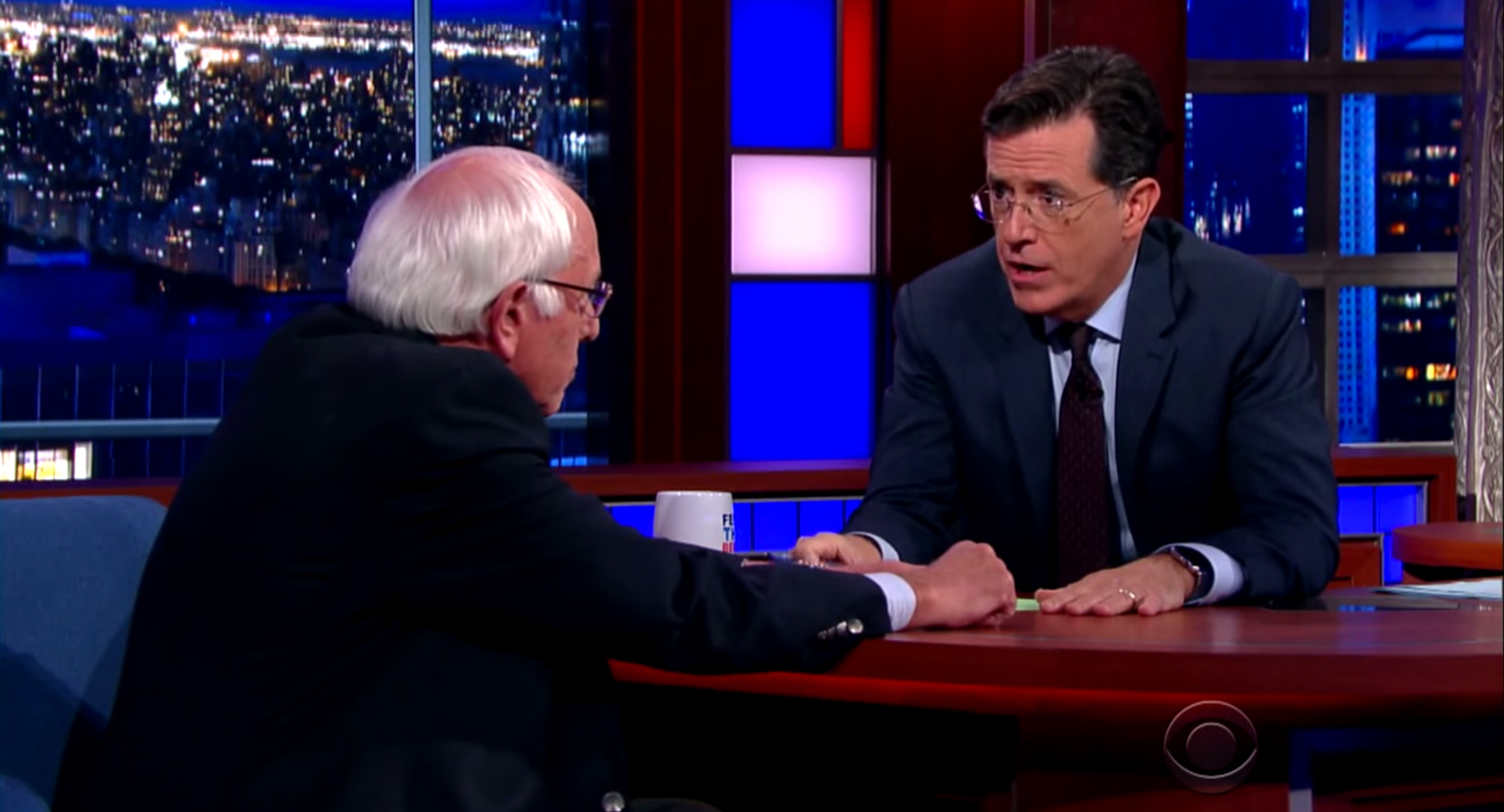 Bernie Sanders. Photo by: Late Show with Stephen Colbert / YouTube