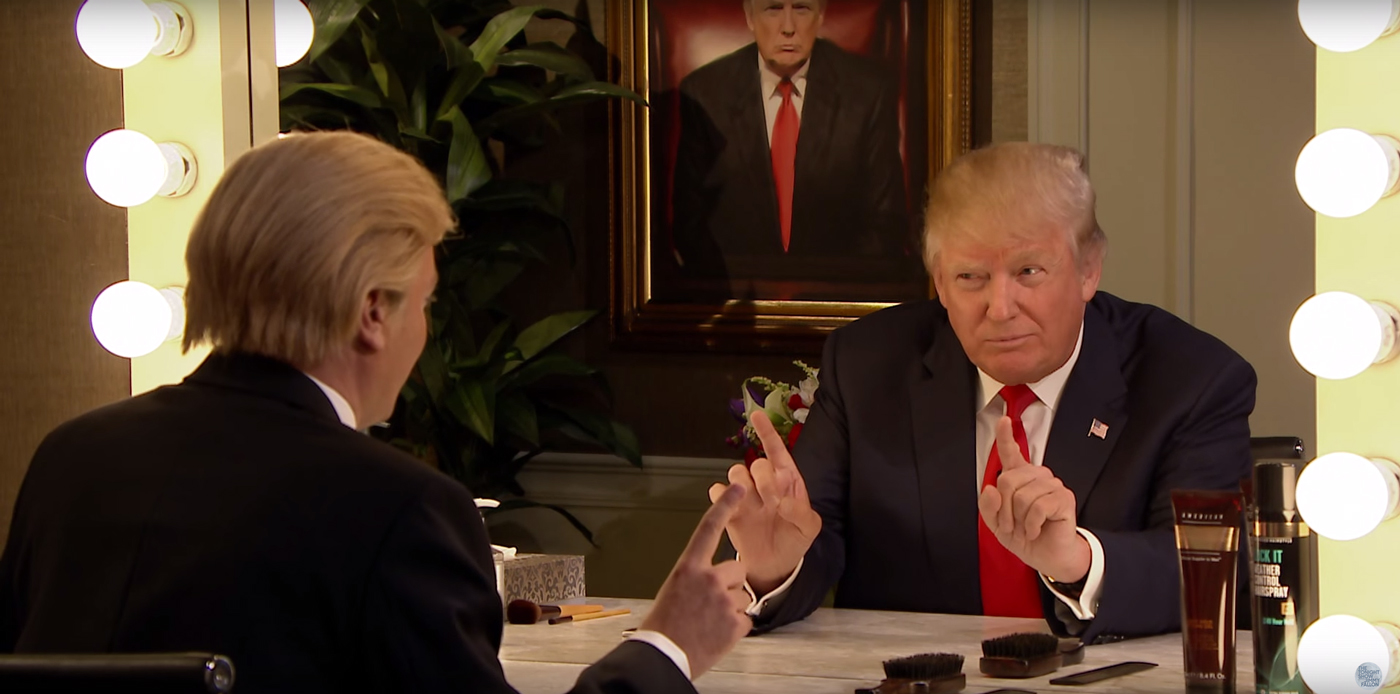 Donald Trump Interviews Himself In the Mirror. Image by: The Tonight Show Starring Jimmy Fallon / YouTube