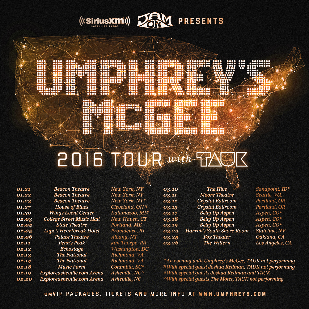 Umphrey's McGee 2016 winter tour dates.