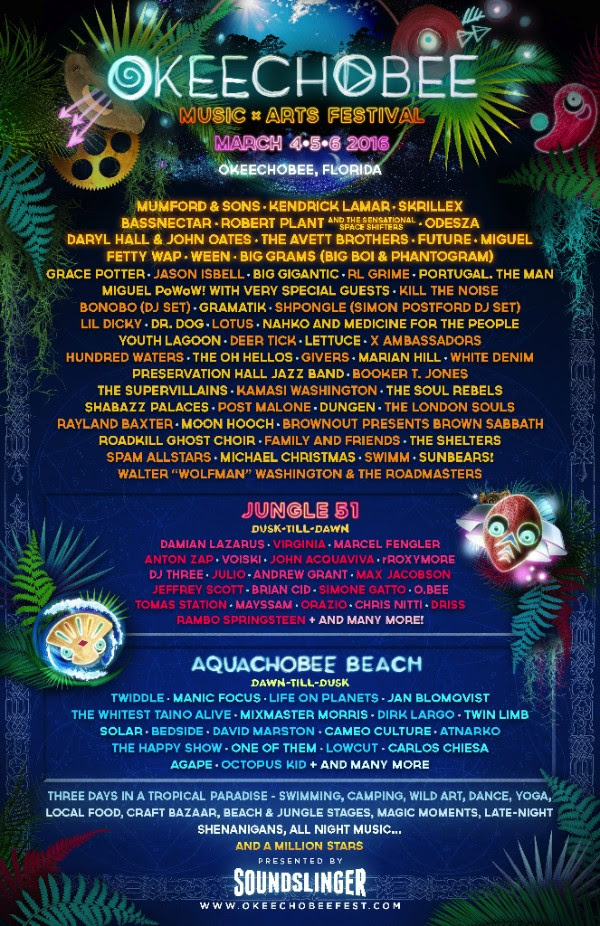 Okeechobee Okeechobee Music & Arts Festival 2016 lineup. Photo by: Okeechobee Music Festival. & Arts Festival 2016 lineup.