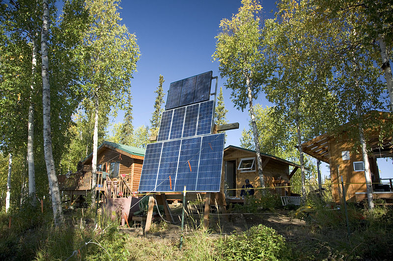 Kanuti Lake Camp Solar power system. Photo by: Steve Hillebrand, USFWS, US Dept. of Interior / Wikimedia Commons