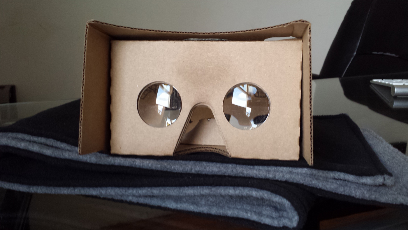 Knox Labs cardboard headset for YouTube 360 and virtual reality videos. Photo by: Matthew McGuire