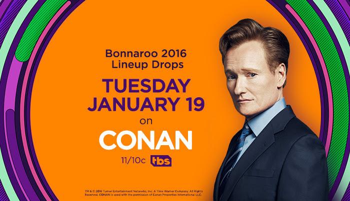 Bonnaroo 2016 lineup announcement on Conan. Photo provided by Mason Jar Media.