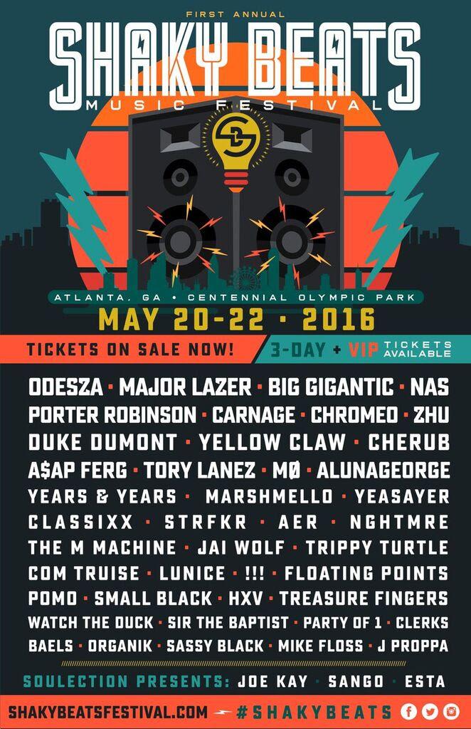 Shaky Beats Music Festival 2016 lineup. Photo provided.