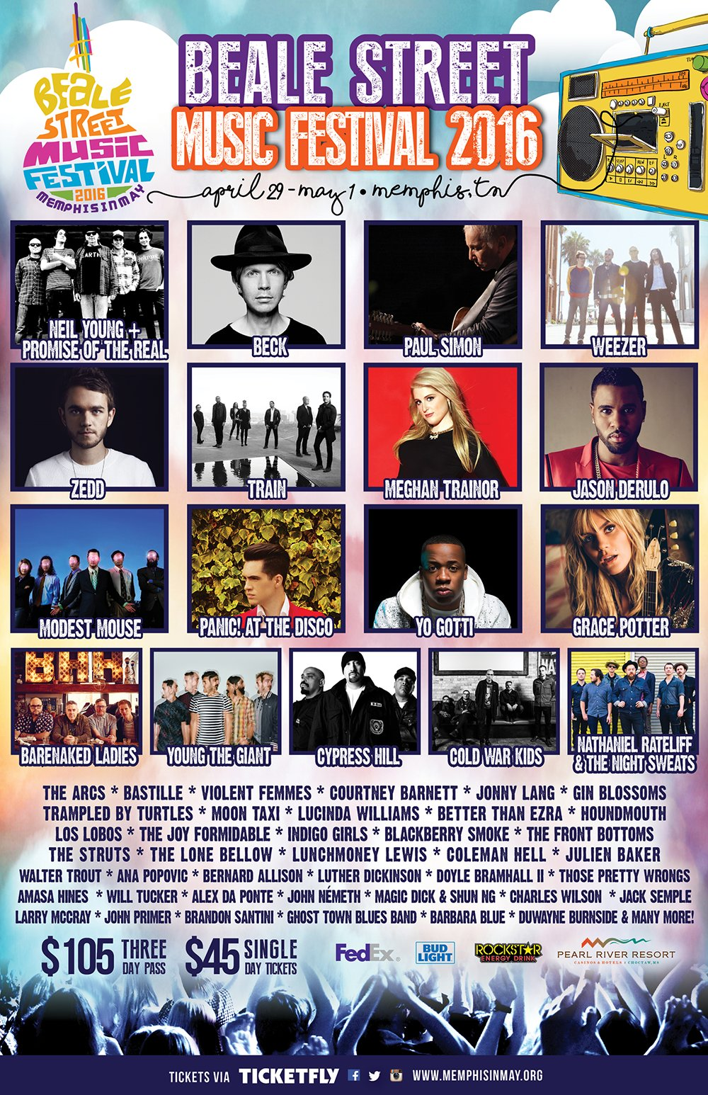Beale Street Music Festival 2016 lineup. Photo by: Memphis in May / Twitter