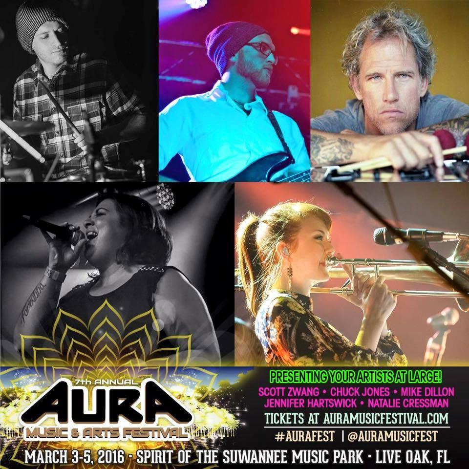 AURA Music & Arts Festival artists at large featuring: Chuck Jones, Scott Zwang, Mike Dillon, Jennifer Hartswick and Natalie Cressman. Photo by: Dopapod