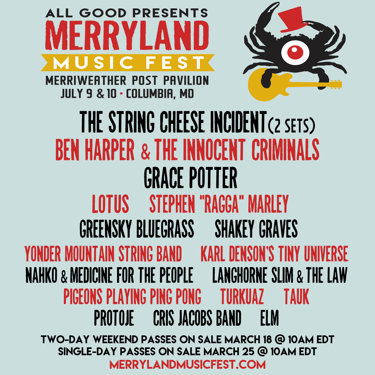 Merryland Music Fest 2016 lineup. Photo provided.