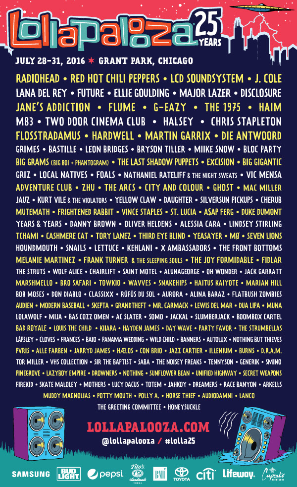 Lollapalooza 2016 lineup featuring Radiohead, Red Hot Chili Peppers and over 170 acts. Photo provided.