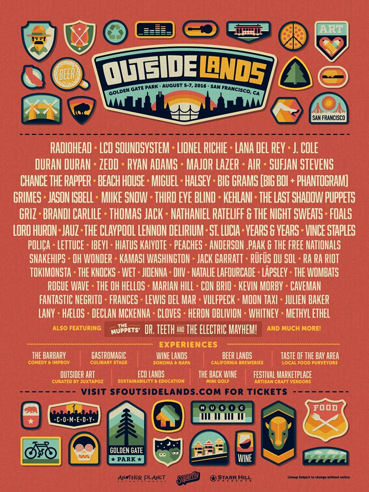 Outside Lands 2016 lineup. Photo by: Outside Lands