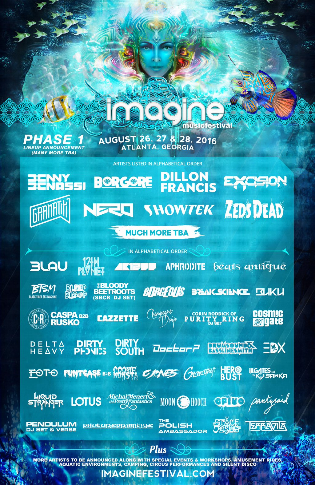 Imagine Music Festival phase 1 lineup. Photo by: Imagine Music Festival