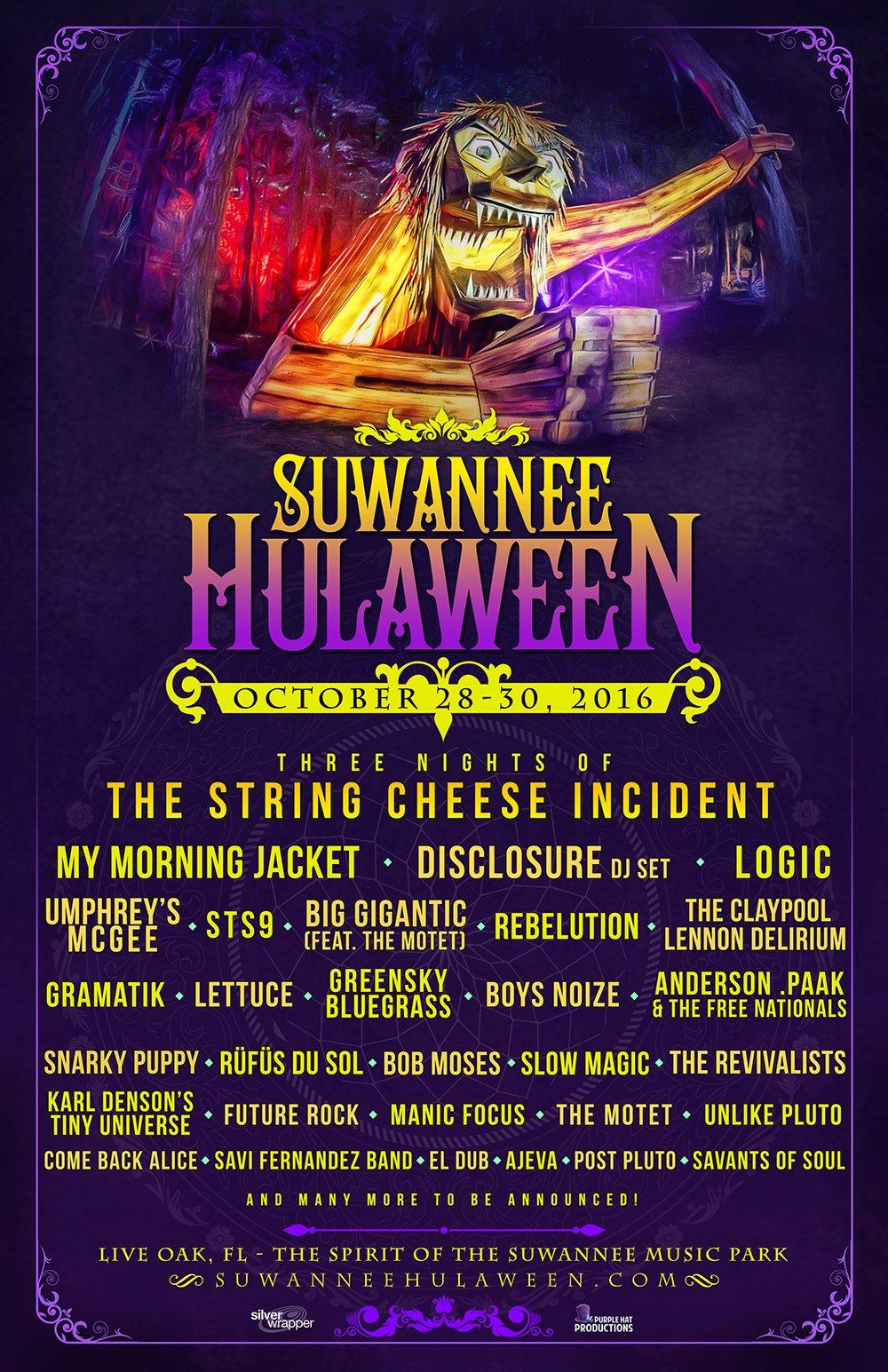 Suwannee Hulaween 2016 initial lineup. Photo by: Suwannee Hulaween / Twitter