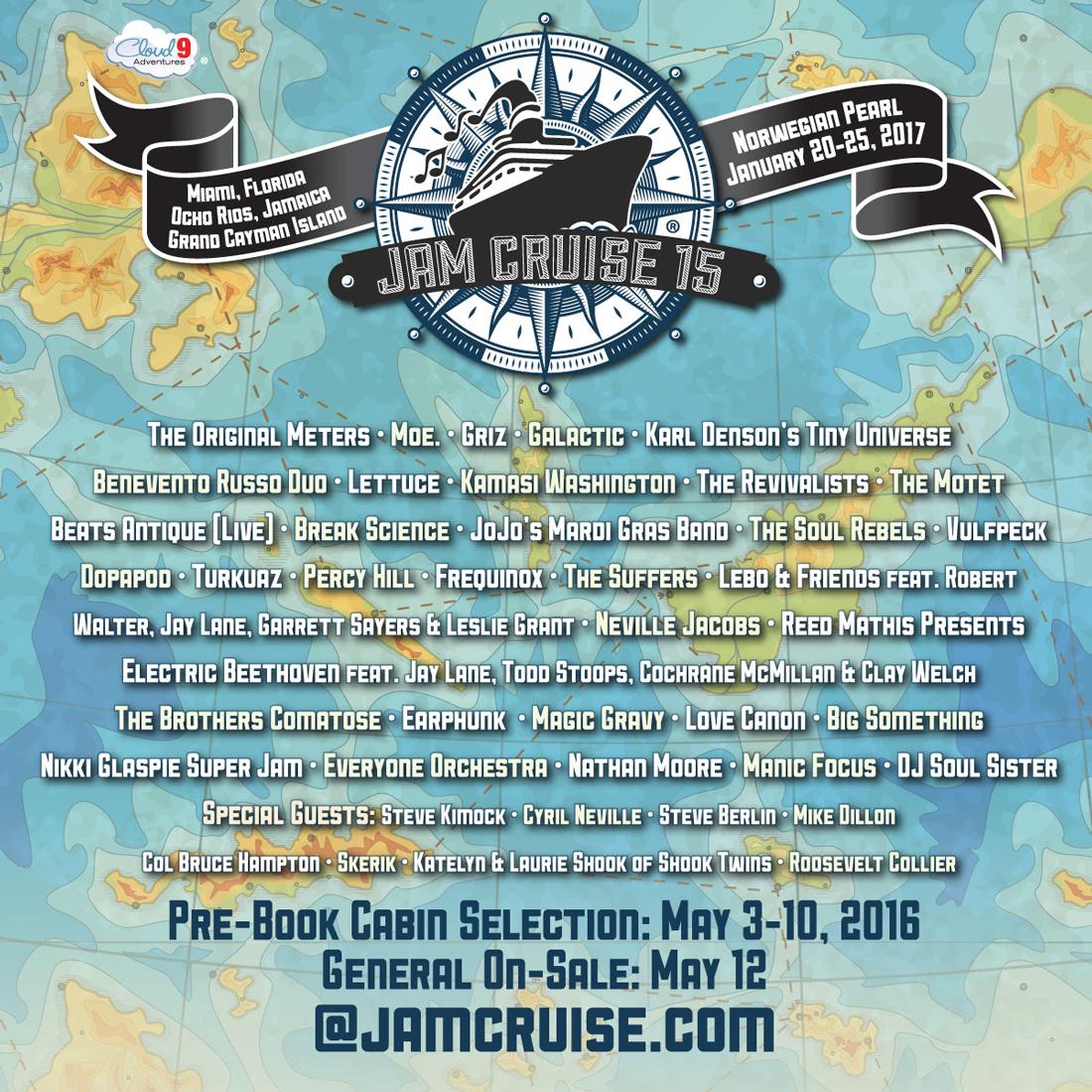 Jam Cruise 15 Lineup. Photo by: Jam Cruise