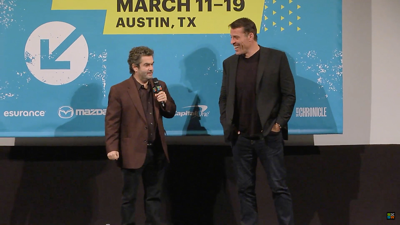 SXSW 2016 interview with Tony Robbins and Joe Berlinger. Photo by: SXSW / YouTube