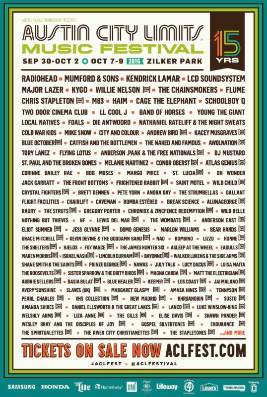 ACL Festival 2016 lineup. Photo provided.