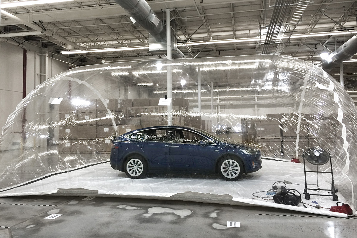 Model X by Tesla Motors being tested for its HEPA filtration system. Photo provided by: Tesla Motors