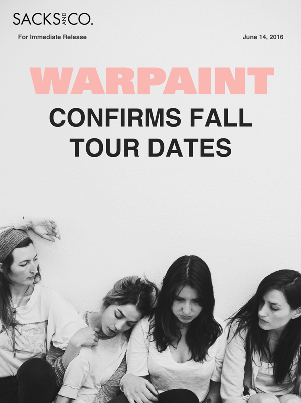 Warpaint 2016 Tour. Photo provided.