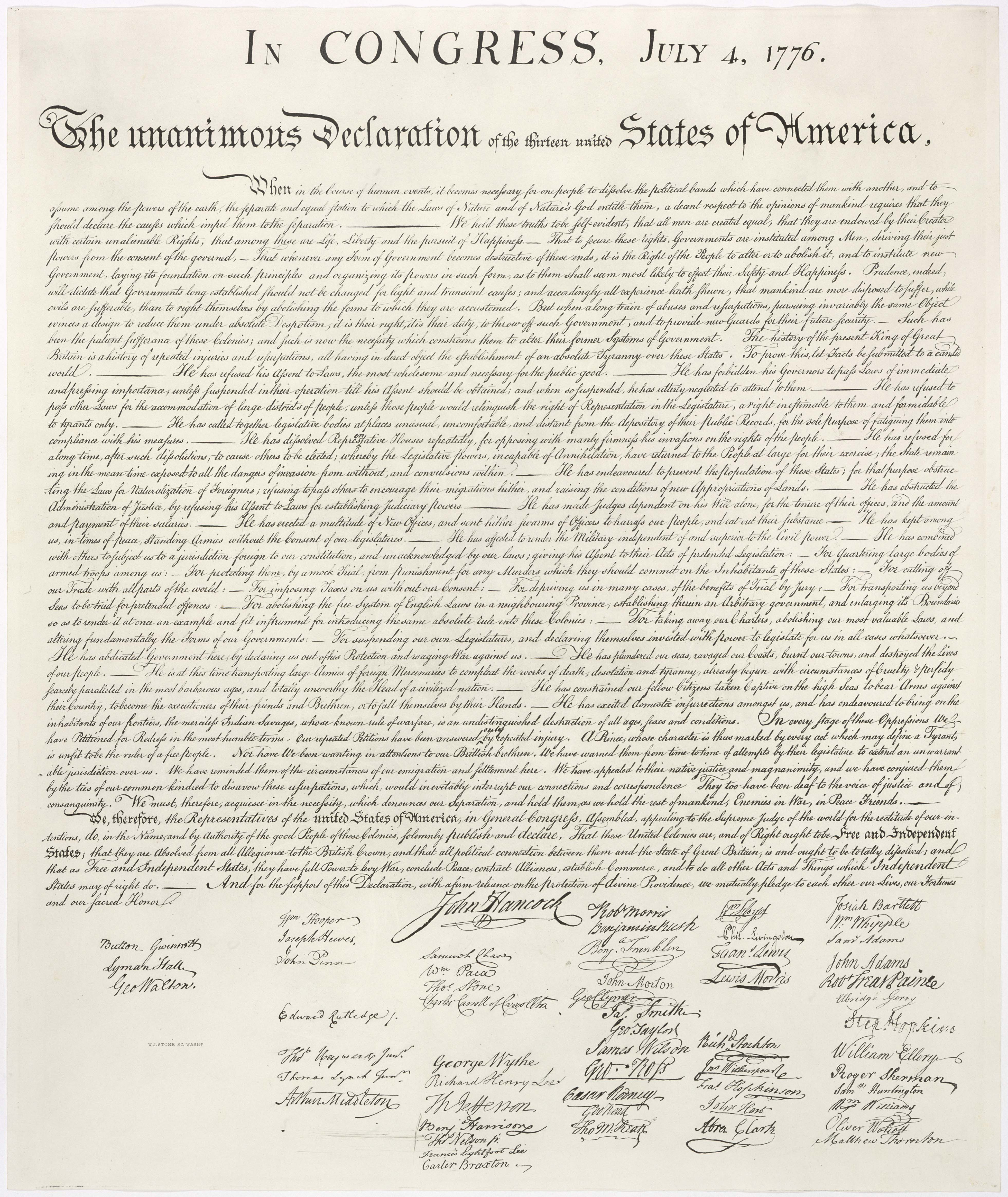 United States Declaration of Independence. Photo by: Wikimedia Commons