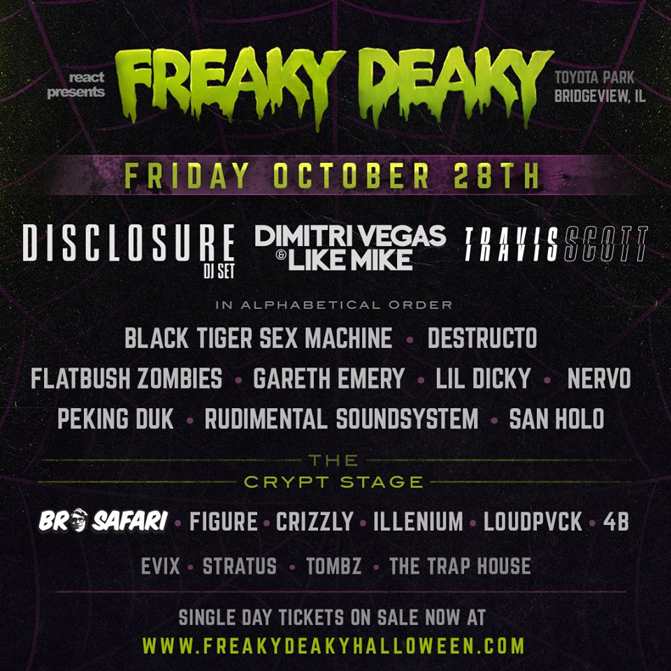 Freaky Deaky 2016 daily lineup. Photo by: Freaky Deaky