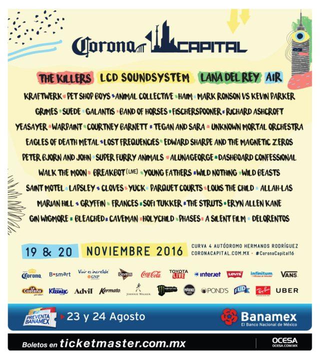 Corona Capital lineup. Photo by: Corona Capital