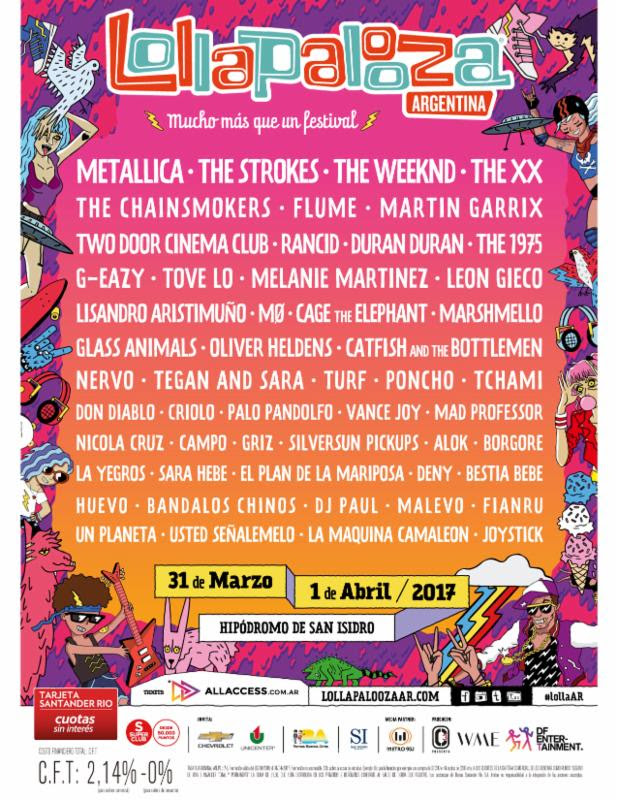 Lollapalooza Argentina 2016 lineup. Photo provided.