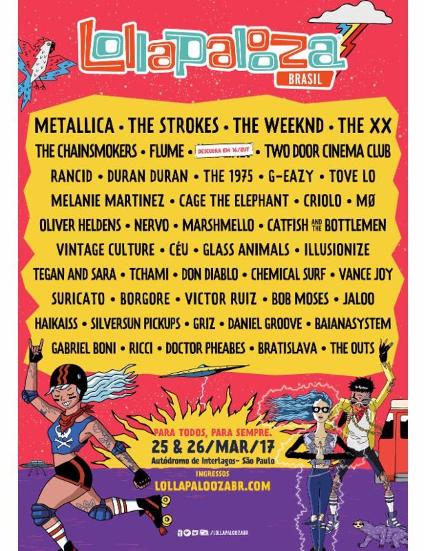 Lollapalooza Brazil 2016 lineup. Photo provided.