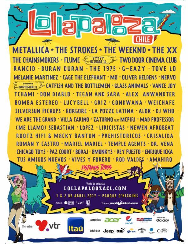 Lollapalooza Chile 2016 lineup. Photo provided.