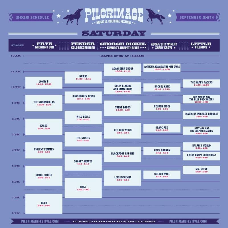 Pilgrimage Music & Cultural Festival stage schedule. Photo provided.
