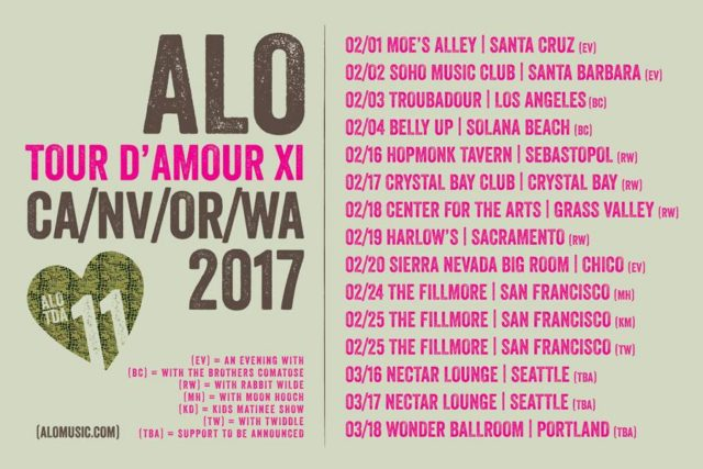 ALO TOUR D'AMOUR 2017 tour dates. Photo by: ALO