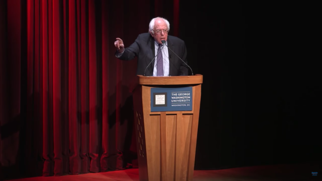 Bernie Sanders at George Washington University. Photo by: Bernie Sanders 2020 As An Independent / YouTube
