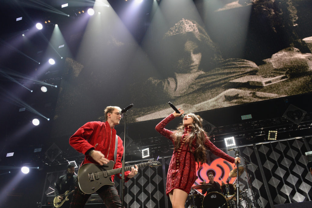 SUNRISE, FL - DECEMBER 18: Machine Gun Kelly (L) and Camila Cabello of Fifth Harmony perform at the Y100's Jingle Ball 2016 at BB&T Center on December 18, 2016 in Sunrise, Florida. (Photo by Gustavo Caballero/Getty Images for iHeart)