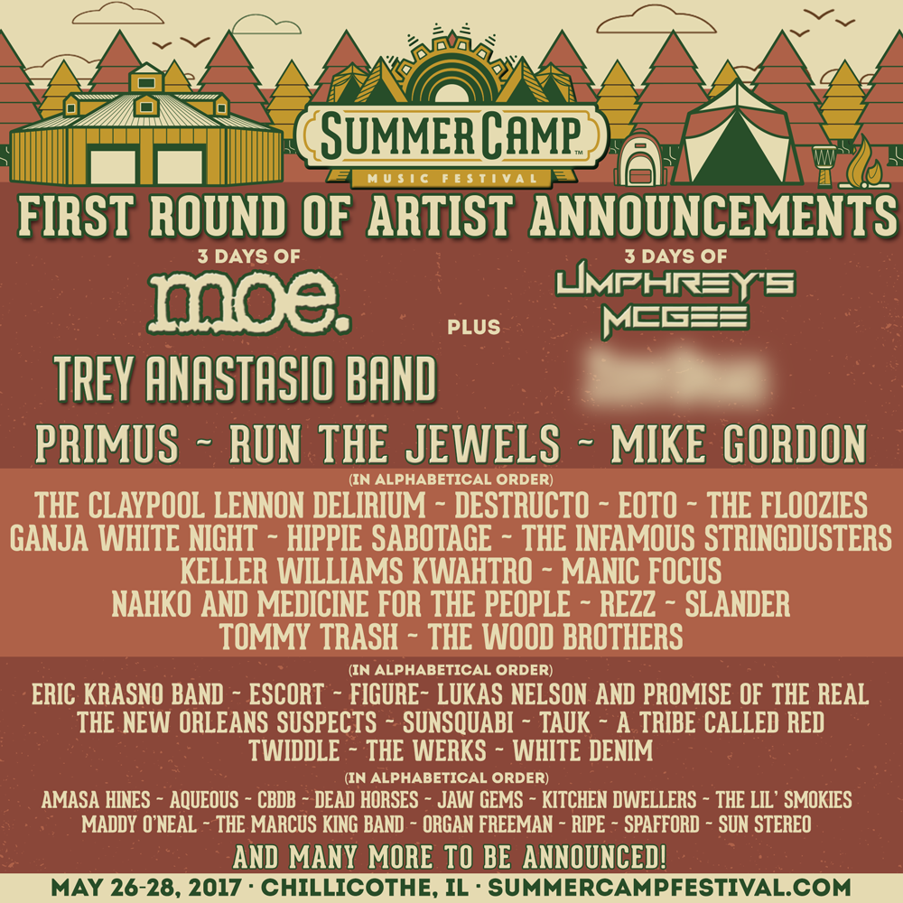 Summer Camp Music Festival 2017 first round lineup. Photo by: Summer Camp Music Festival