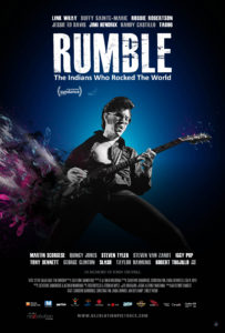 Poster image of RUMBLE: The Indians Who Rocked The World by Catherine Bainbridge and Alfonso Maiorana, an official selection of the World Cinema Documentary Competition at the 2017 Sundance Film Festival. Courtesy of Sundance Institute.