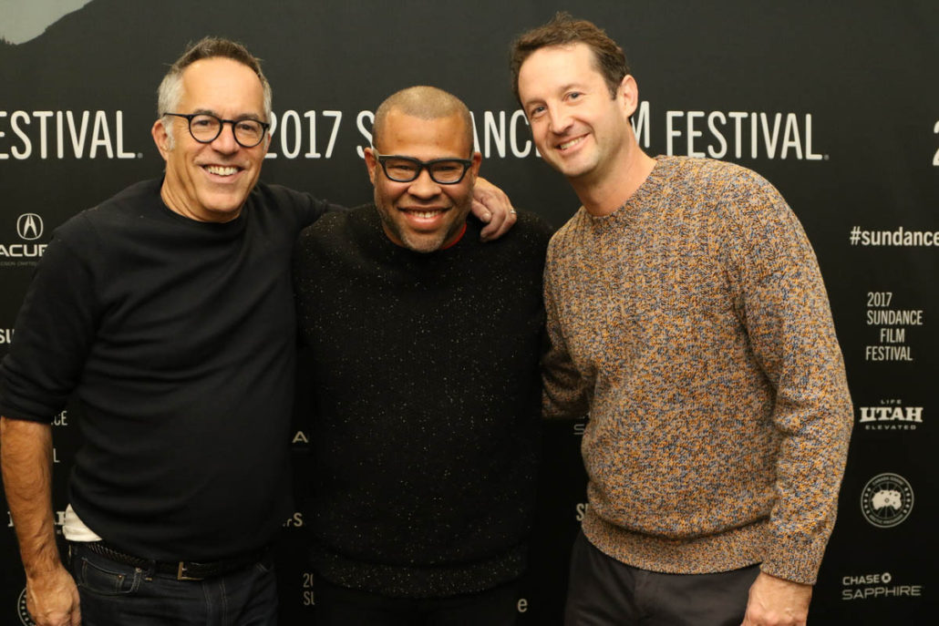 Sundance Film Festival Director John Cooper, Director Jordan Peele and Sundance Film Festival Director of Programming Trevor Groth attend the World premiere of Get Out by Jordan Peele, the secret midnight feature at the 2017 Sundance Film Festival. © 2017 Sundance Institute | photo by Abbey Hoekzema.
