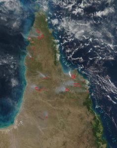 Aerial shot of Australia forest fires. Photo by: NASA image courtesy Jeff Schmaltz LANCE/EOSDIS MODIS Rapid Response Team, GSFC.