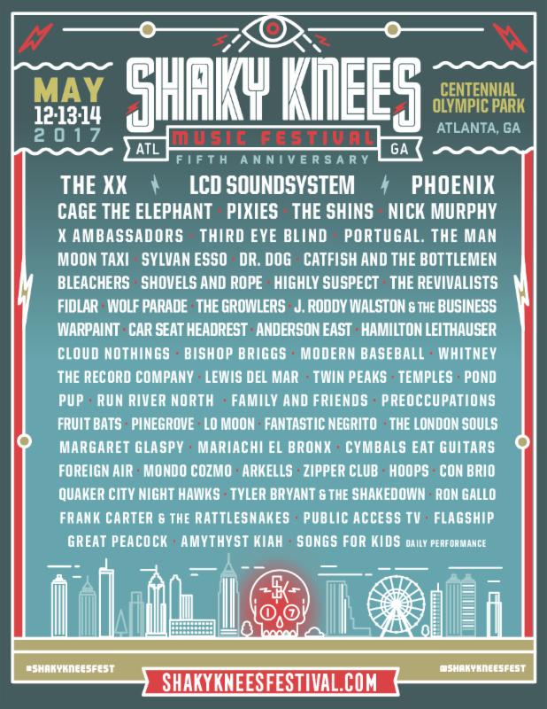 Shaky Knees Music Festival 2017 lineup. Photo provided.