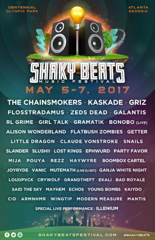 Shaky Beats Music Festival 2017 lineup. Photo provided.